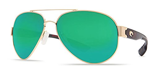 Polarized Green Mirror 400 Glass - Costa Del Mar Sunglasses - South Point- Glass / Frame: Gold Lens: Polarized Green Mirror 400 Glass