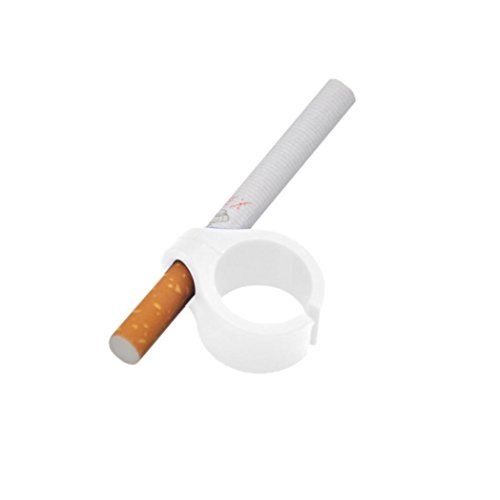 Cigarette Ring Holder Smoking Hands Free for Gaming, callm Silicone Cigarette Rack Holder Free Finger Mini Tobacco Accessories Gadget for PC Gamer, Guitar Player or Console (White)