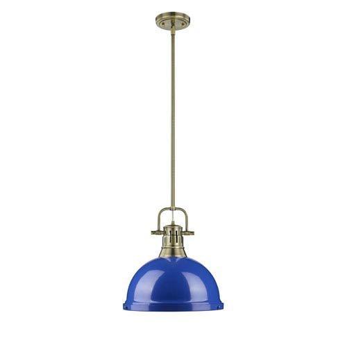 Golden Lighting 3604-L AB-BE One Light Pendant Blue//Gold