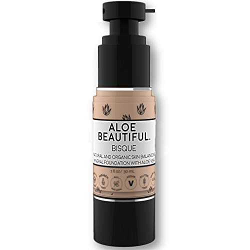 Organic Liquid Mineral Foundation Makeup with Aloe - All Natural Vegan Gluten Free Ingredients - Made In USA, Bisque