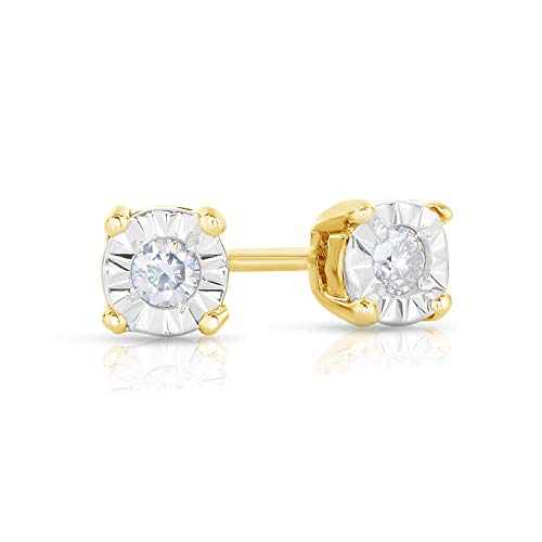 Natalia Drake Yellow Gold Plated Sterling Silver Miraculous Diamond Stud Halo Earrings (.10ctw, H-I Color, I1-i2 Clarity)