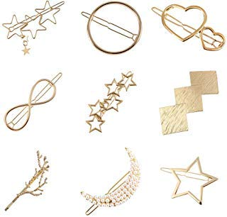 Women Lady Girl Gold Minimalist Bowknot Oval Circle Moon Star Pearl Hair Clip Snap Barrette Comb Stick Claw Crab Clamp Hairpin (Gold)