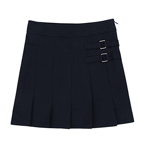 YiZYiF Kids Girls Elastic Soft Plain Uniform Pleated Skirt with Hidden Shorts Schoolwear 003 Navy 14
