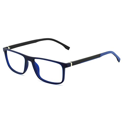 OCCI CHIARI Men Computer Glasses Rx Eyewear Hinge Oversized Eyeglasses Blue light filter (E-Blue+Black) ()