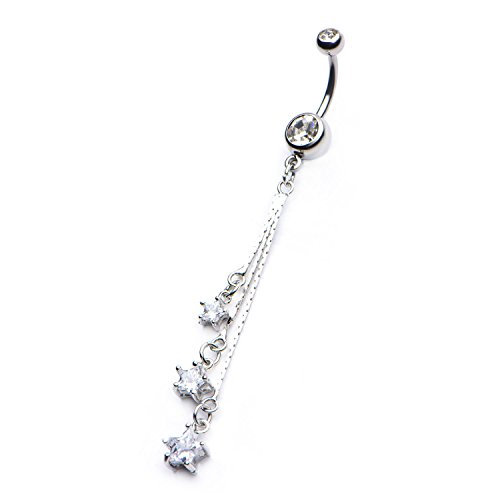 Pierced Owl CZ Crystal Star Dangling Belly Button Ring in 316L Stainless Steel