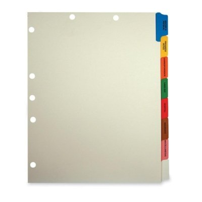 "Tabbies - Medical Chart Index Set, 8 Side Tab, 9""x11"", 40/BX, MLA, Sold as 1 Box, TAB 54505"