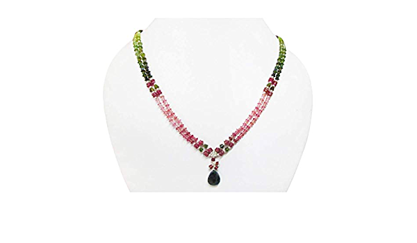 Natural Watermelon Tourmaline Pendant Set in Sterling Silver on Natural Pink Tourmaline Necklace on Silver Clasp Heal Heart Chakra