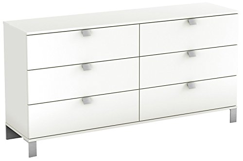 (South Shore Spark Collection 6-Drawer Double Dresser, Pure White with Satin Nickel Handles)