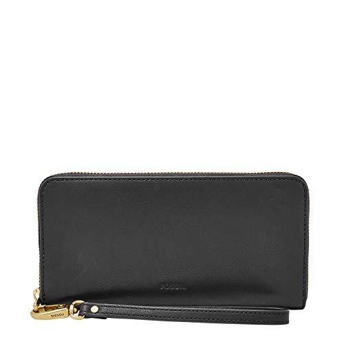 Fossil Emma RFID Large Zip Wallet, Charcoal Black (Fossil Bags On Sale)