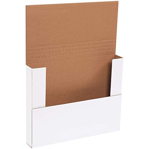 - Boxes Fast BFM14112BF Corrugated Cardboard Easy-Fold Mailers, 14 1/4 x 11 1/4 x 2 Inches, Fold Over Mailers, Adjustable Die-Cut Shipping Boxes, Multi-Depth, Large White Mailing Boxes (Pack of 50)
