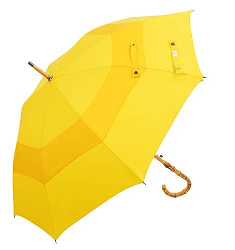 UK Designed-Balios Prestige Walking Stick Umbrella-Bamboo Handle-Double Canopy (Bright Yellow)