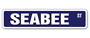 Seabee Street [3 Pack] of Vinyl Decal Stickers | Indoor/Outdoor | Funny Decoration for Laptop, Car, Garage, Bedroom, Offices | SignMission by SignMission