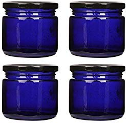 Pure Source India. Premium Quality Blue Color Glass jar Set of 4 pcs with Metal Black Color Cap Air Tight & Rust Proof, Capacity 150 Gram About. ()