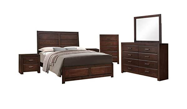 Amazon.com: Millie 6 Piece Bedroom Set, Queen, Walnut Wood ...