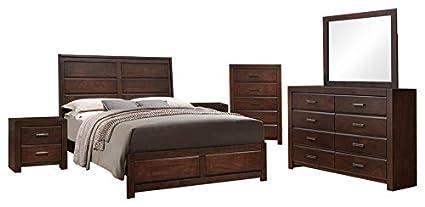 Amazon.com: Millie 6 Piece Bedroom Set, King, Walnut Wood ...