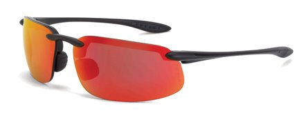 12 Pack Crossfire 2169 ES4 Safety Glasses HD Red Mirror Lens - Matte Black Frame
