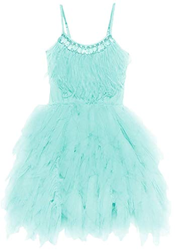 OBEEII Little Girl Swan Princess Feather Fringes Tutu Dress Pageant Party Wedding Formal Halloween Costume Short Tiered Gown 4-5 Years Light Green -