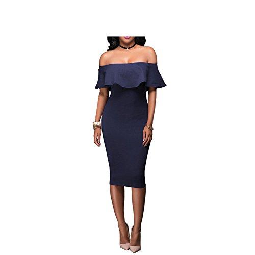 vovmi dress Dress Ruffles Strapless African Women Celebrity Party Dresses Dark Blue XL
