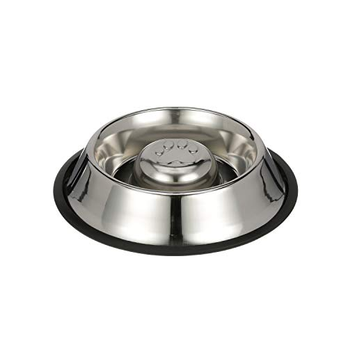 NEATER PET BRANDS Slow Feed Bowl Stainless Steel Metal (Non Tip Style) - Stops Dog Food Gulping, Bloat and Rapid Eating (Medium, Non Tip)