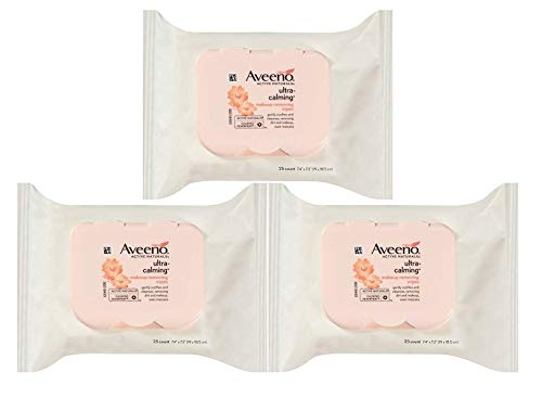 Aveeno Wipes, Makeup Removing, Ultra-Calming 25 ct (Pack of 3) (Aveeno Makeup Remover)