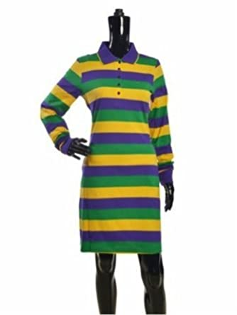 356461e5764 Image Unavailable. Image not available for. Color: Mardi Gras Long Sleeve  Rugby/Polo Shirt Dress ...