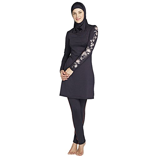 Lazy Cat Muslim Swimwear Modest Swimsuit for Women (3XL, Black) by Lazy Cat