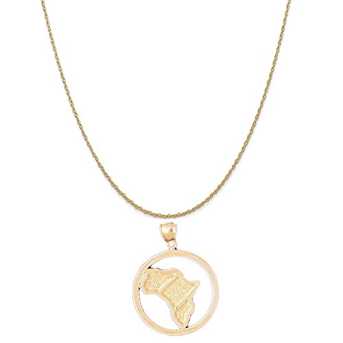 14k Yellow Gold Africa Pendant on a 14K Yellow Gold Rope Chain Necklace, 16'' by Eaton Creek Collection