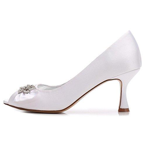 White L Zapatos Mujeres Vestido F17061 De Rhinestone Noche yc Abierto Dedo Boda Del Y Satén Invierno 60 Cómodo Las Pie rSwHrq