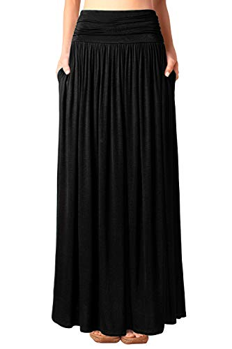 DJT Women's High Waisted Shirring Flowy Maxi Skirt with Pockets X-Large Black
