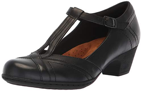 Rockport Women's Brynn T-Strap Pump, Black, 7.5 M US