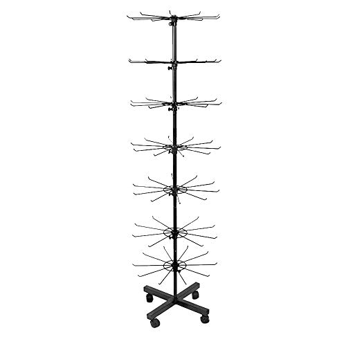Autek Retail Display Stand 7 Tier Movable Shop Spinner Jewelry Keyring Socking Hats Toys Show Rack Black