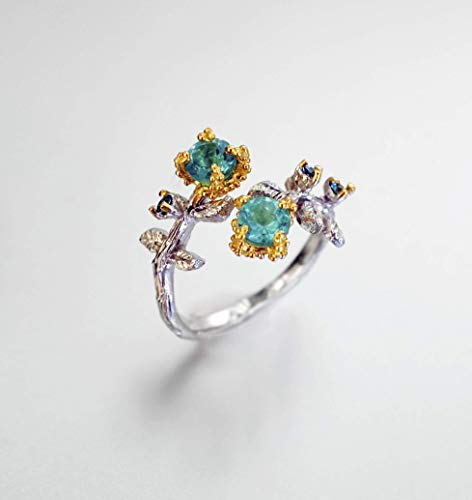 Love Mirror: Paraiba apatite ring for women in 925 Sterling silver/natural gemstone ring/birthday gift/handmade Mother