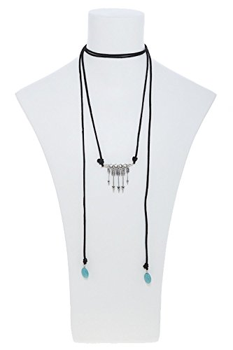 KARMAS CANVAS FAUX STONE ARROW CHARM CHOKER NECKLACE SET (Black/Silver)