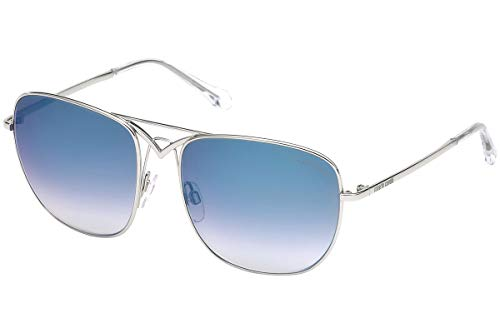 (Roberto Cavalli CIVIELLA RC1053 - 16W Sunglasses Shiny Palladium w/ Blue Gradient Lens 59mm)