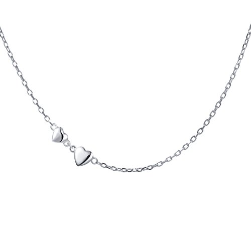 S925 Sterling Silver Jewelry Tiny Delicate Sideways Double Forever Love Heart Choker Necklace, 16+2