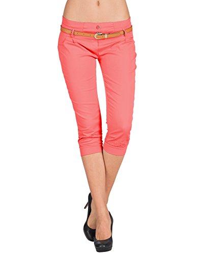 Zarlena Chino Capri Pantaloni di Donna con Cintura Panno breve ¾ 3/4 CTS-COR-S
