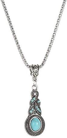 C- Conjunto de Pendientes de Collar de Mujer - Patrón de Moda Vintage Pendientes de Turquesa Azul con Incrustaciones de Cristal Pendiente de Bohemia Caliente de la Personalidad,B