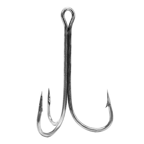 Eagle Claw Nickel Shank - Eagle Claw Lazer 2x Treble Regular Shank Curved Point Hook (Pack of 5), Nickel, Size 1