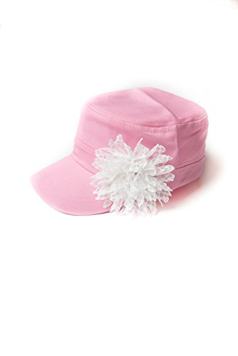 Womens Cadet Flower Hat Distressed Military Hat Baseball Cap Cotton Twill Hat (Pink with white lace)