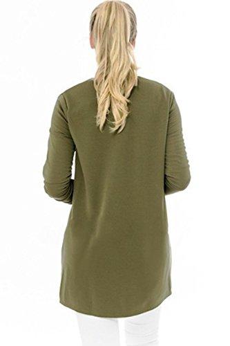 Ouvert green Cardigan Long Manche Femmes Une Avant Plain L'automne Les D'aviateur Veste 7wfPqYn
