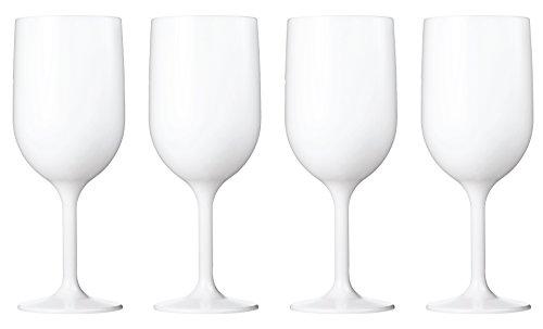 Stemware Wine White (Drinique VIN-WG-WHT-4 Stemmed Wine Glass Unbreakable Tritan Stemware, 12 oz (Set of 4), White)