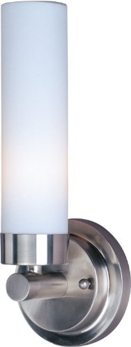 Maxim 53006WTSN Cilandro 1-Light Wall Sconce Bath Vanity, Satin Nickel Finish, White Glass, MB T10 Incandescent Incandescent Bulb , 60W Max., Dry Safety Rating, Standard Dimmable, Shade Material, 1344 Rated (Cilandro Satin)