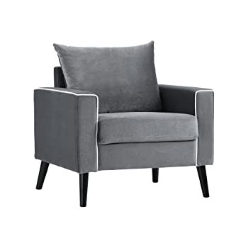 Mid Century Modern Velvet Fabric Armchair Living Room Accent Chair (Dark  Grey)