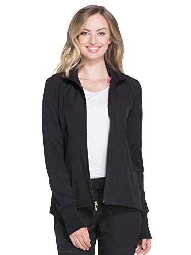 (HeartSoul Break On Through Women's Zip Front Warm-Up Solid Scrub Jacket Medium Black)
