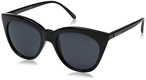 Le Specs Women's Half Moon Magic Sunglasses, Black/Smoke Mono, One Size ()