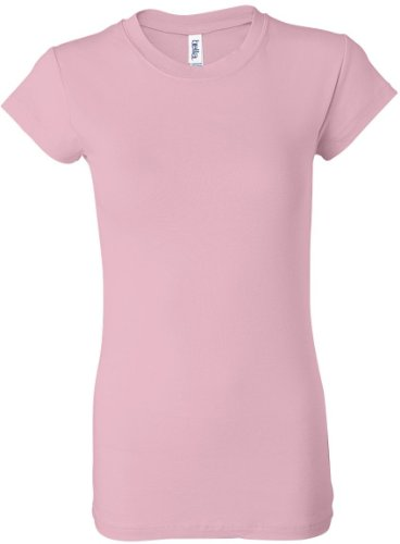bella Ladies Kimberley Sheer Rib Short Sleeve Longer Length T-Shirt, Pink, M