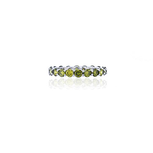 Sterling Silver 3mm Round Prong Set Peridot Eternity Band Ring by Decadence