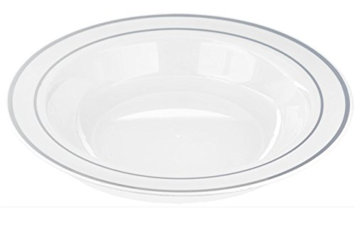 Kaya Collection - Disposable White with Silver Rim Plastic Round 12oz Soup/Salad Bowls - 2 Pack (20 Bowls) - Edge Round Bowl