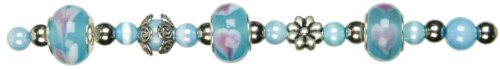 Cousin Jewelry Basics 29-Piece Glass Bead, Aqua Hole Mix, Large