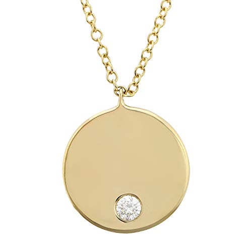 - 14k Yellow Gold Disk Pendant Necklace 0.5 Ct White Diamond Necklaces For Women & Teens